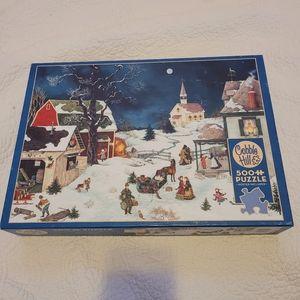 """Cobble Hill """"Moonlit Winter"""" 500 Piece Puzzle"""